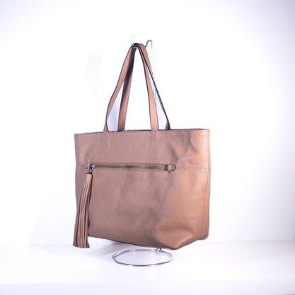 Bolsa Schutz Handbag Shopping Chaveiro Franja Bege