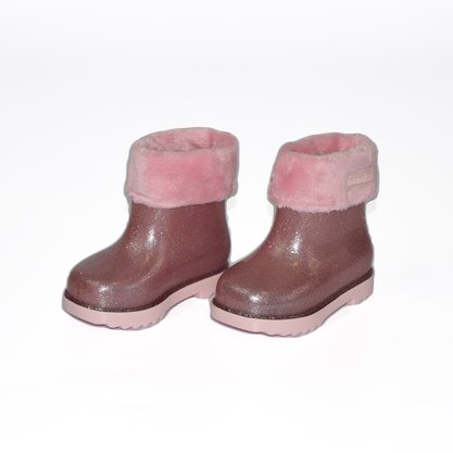 Mini Melissa Coturno Winter Pelinhos Rosa
