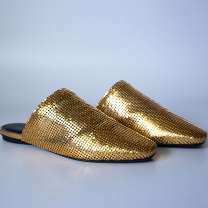 Mule Carrano Malha Couro Metal Gold