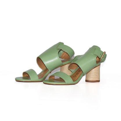 Sandália Carrano Verde Tiras + Salto Corda