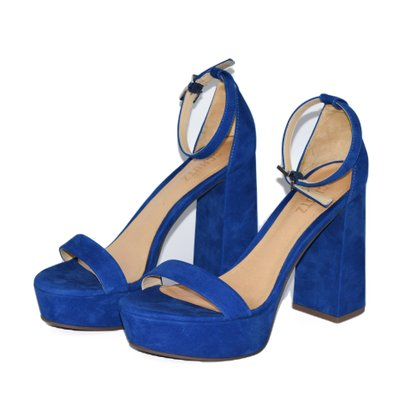 Sandália Schutz Salto Bloco Nobuck Azul