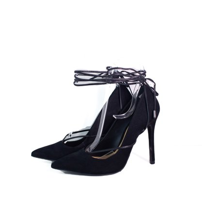 Sapato Scarpin Schutz Preto Acamurçado Amarração