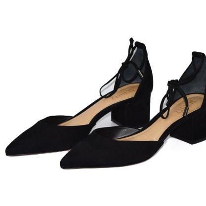 Sapato Schutz Nobuck Preto Salto Medio